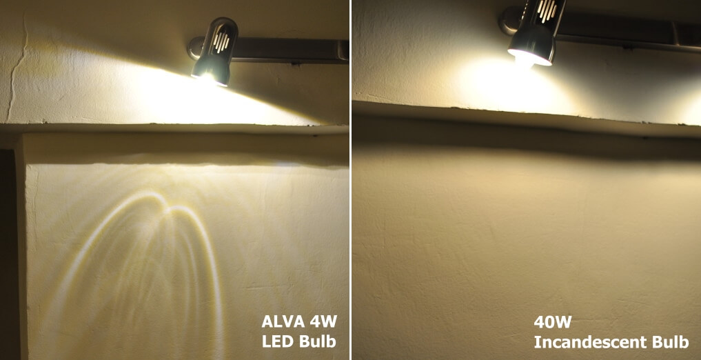 Comparison of the Alva 4W LED to 40W Incandescent Bulb